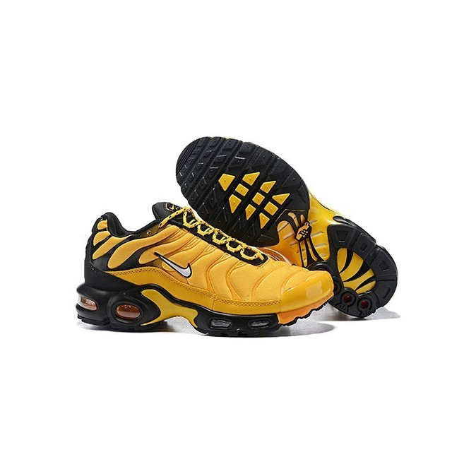 Nike TN Air Max Plus Frequency Pack Yellow Black Men Running Shoes Comfortable Sports Lightweight Sneakers AV7940-700 Original