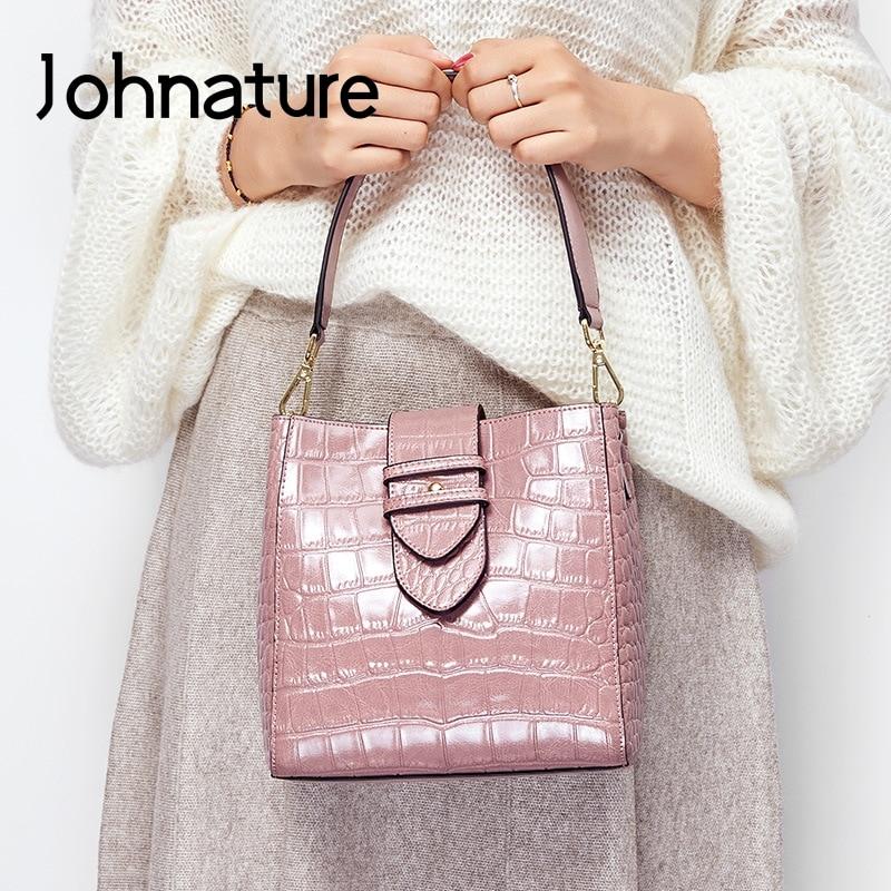 Johnature Fashion Women Handbag 2020 New Genuine Leather Bucket Bag Luxury Alligator Cowhide Female Shoulder Messenger Bags