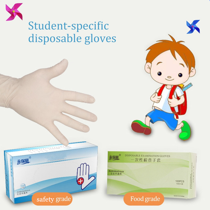 100PCS Children Disposable Nitrile Gloves Kids School Protective Gloves Safety Hand Cover Food Grade Mittens Latex White
