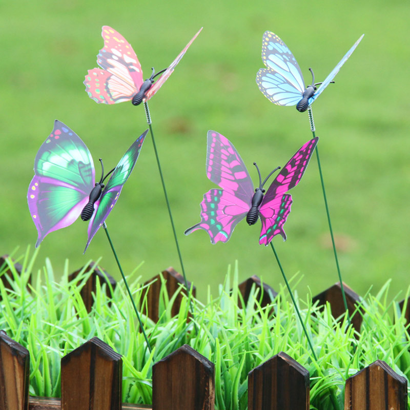 On Sticks Lifelike Garden Ornament 3D 50pcs/Pack Butterfly Garden Decor Lawn Decoration