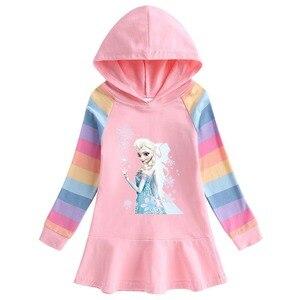 Disney платье Снежной Королевы для девочки, с принтом Эльзы, Микки, Минни, Дональд Дак, принт с героями мультфильмов, юбка хлопковый свитер с дли...