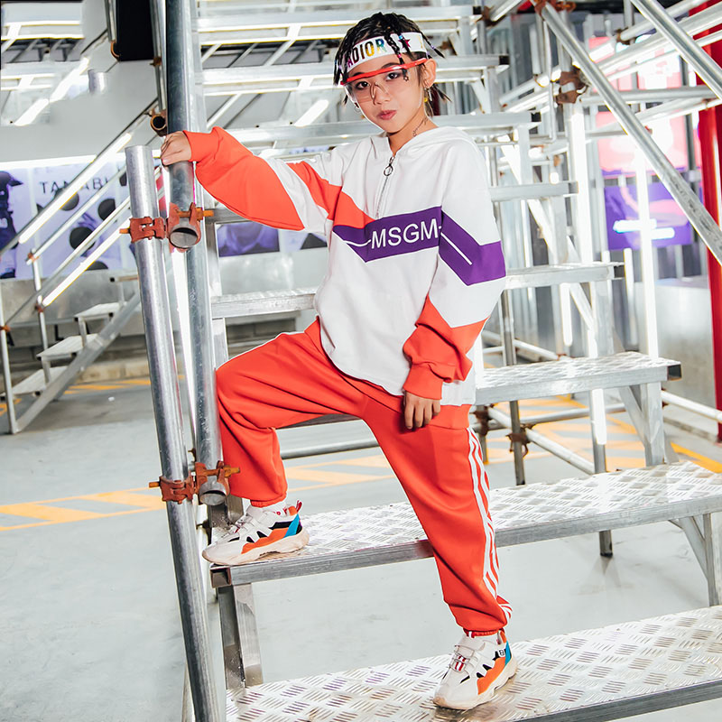 Fashion Jazz Dance Costumes Kids Orange Hip Hop Street Dance Practice Wear Rave Outfit Boys Stage Performance Clothing DC3280