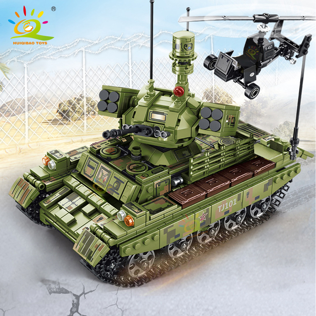 HUIQIBAO 884pcs WW2 Military Tank Building Blocks Army 4 Soldier weapon Chariot Model Bricks Construction Toys for children