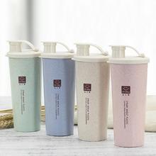 Портативная чашка для воды из пшеничной соломы 470 мл, двухслойная кофейная кружка Cola, Офисная кофейная кружка, пластиковая чашка, чашка для питья