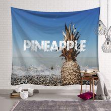 Lato plażowa duża gobelin ścienny tanie Hippie ananas wiszące na ścianie artystyczne złote gobeliny ścienne Mandala na ścianę dekoracja tanie tanio 100 poliester Drukowane Żakardowe Scenic Włókniny Prostokąt Hand Wash Pineapple Beach Wholesale Drop Shipping Wall Tapestry