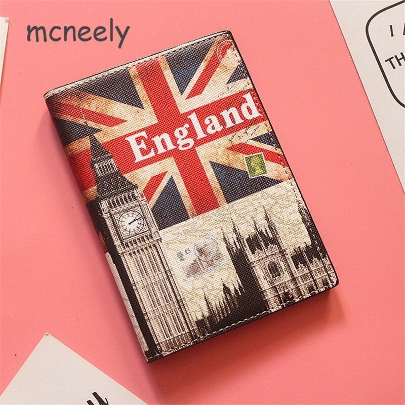 British flag weaving Big Ben Travel Passport Holder Cover Wallet PU ID Card Holders Business Credit Card Holder Case Pouch