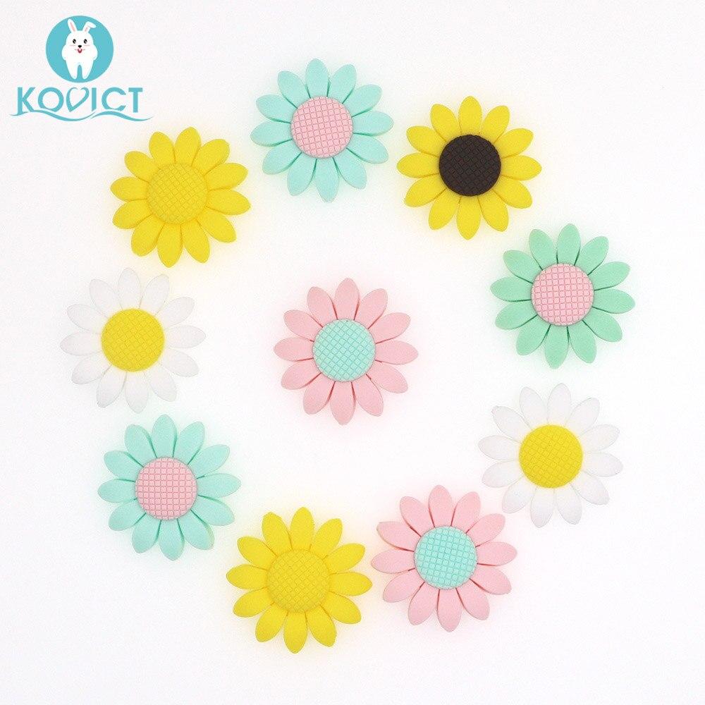 Kovict-anneau de dentition en Silicone, 6/10 pièces, perles de 40mm, tournesol sans BPA, pour bébé, de qualité alimentaire rongeurs bricolage jouets de dentition pour bébé