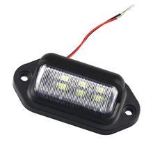 2PCS 6 LED 12-24V License Plate Light Car Boat Truck Trailer Step Lamp 1.8W 6500K Car Auto Bright Tail Lights License Plate Bulb