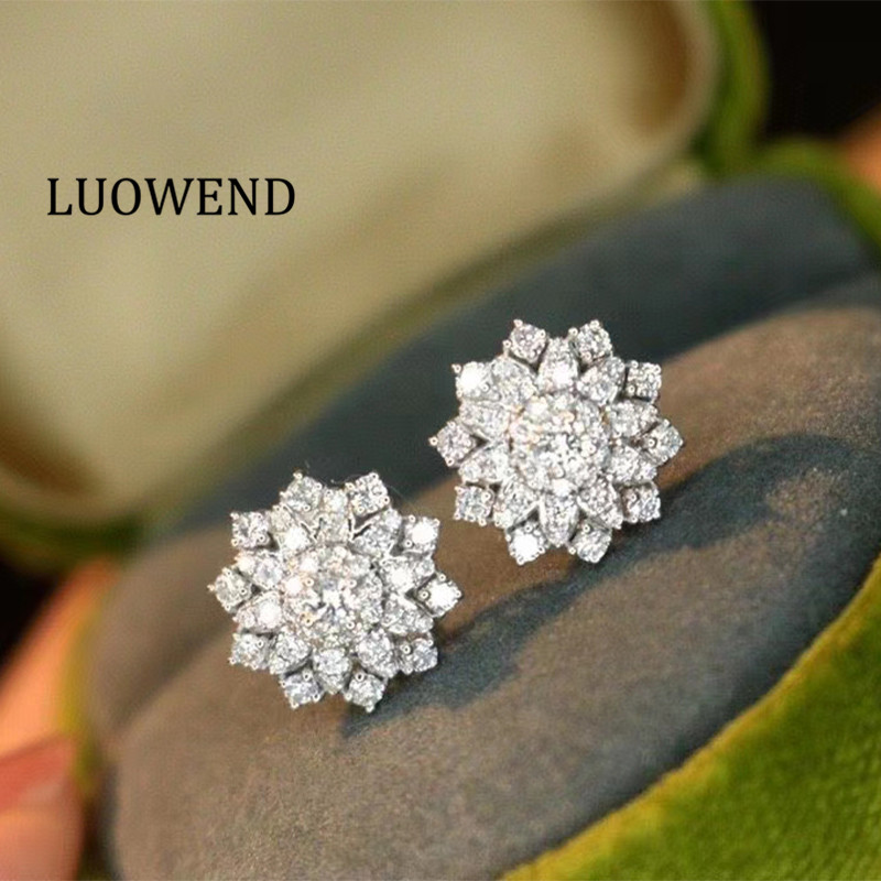 LUOWEND 100% 18K Solid White Gold Earrings Women Stud Earrings Real Natural...