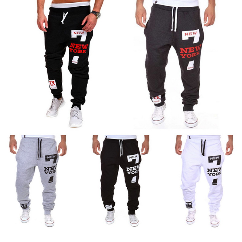 2019 Men's Letter Print Jogger Sweatpants Casual Male Calca Masculina Hip Pop Trousers Track Pants Korean Long Print Loose Pants