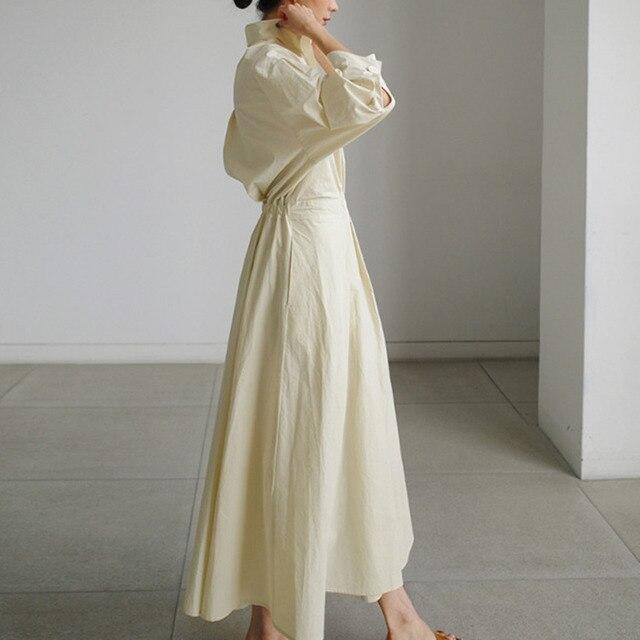 [EWQ] Korea Chic Autumn Casual Trend Women Solid New Lapel Single Button Loose Fashion Long-sleeved Shirt Dress 2021 16E1954 3