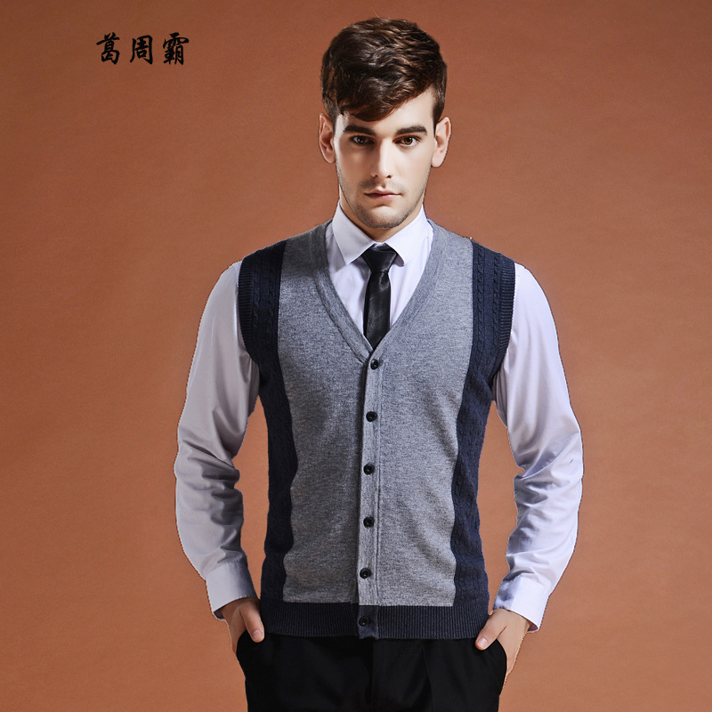 Autumn & Winter Middle-aged Wool Vest MEN'S Cardigan V-neck Knitted Vest Large Size Sleeveless Sweater Waistcoat Business Men's
