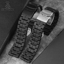 Ремешок из углеродного волокна для мужских наручных часов, наружный военный браслет для дайвинга, аксессуары для часов, черный, 23 мм, 3051