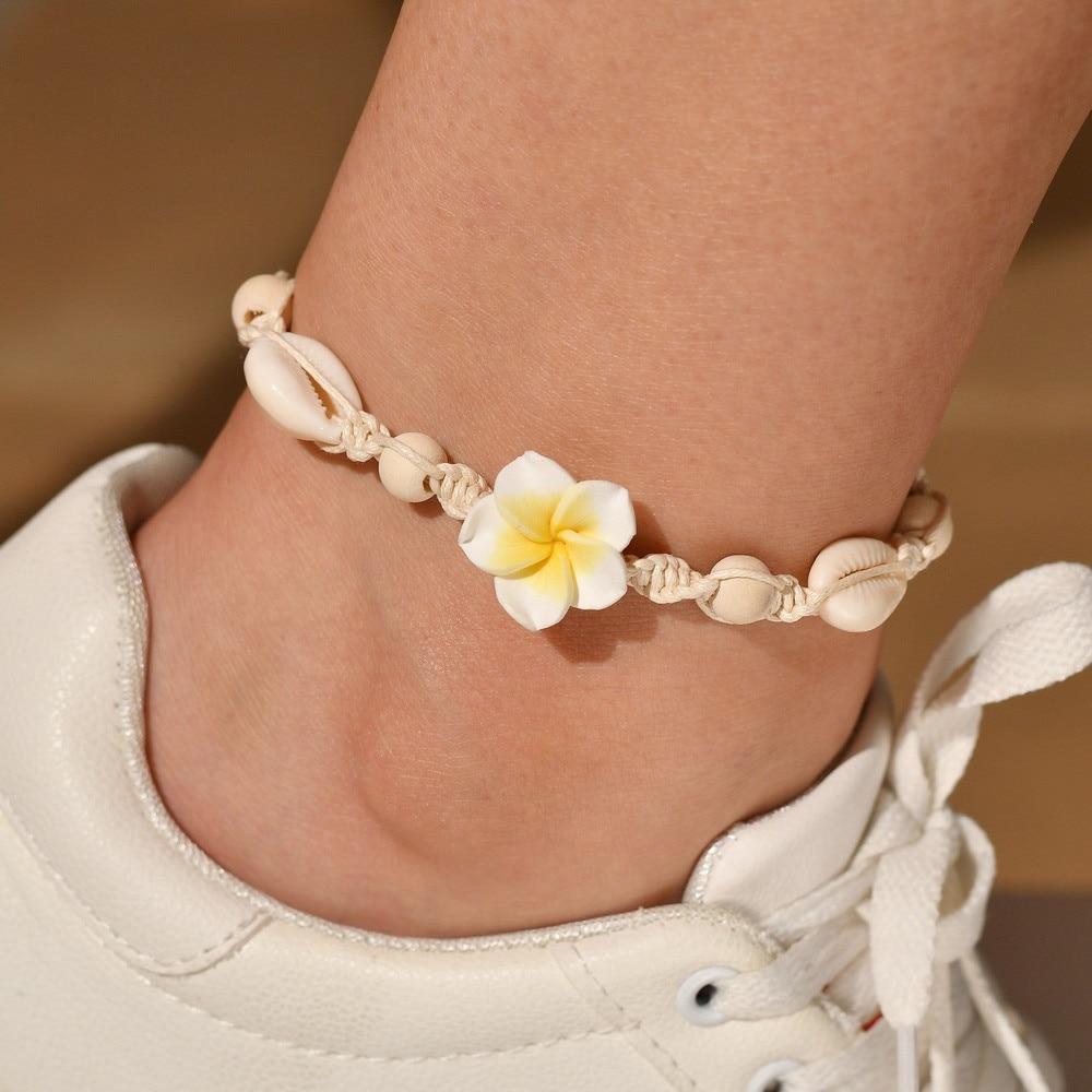 新款波西米亚脚链沙滩脚链纯手工编织 软陶花朵海贝壳脚链脚饰