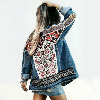 YAMDI 2020 Denim jacket women autumn vintage floral appliques Embroidery boho jacket long sleeve Outerwear coat female jackets