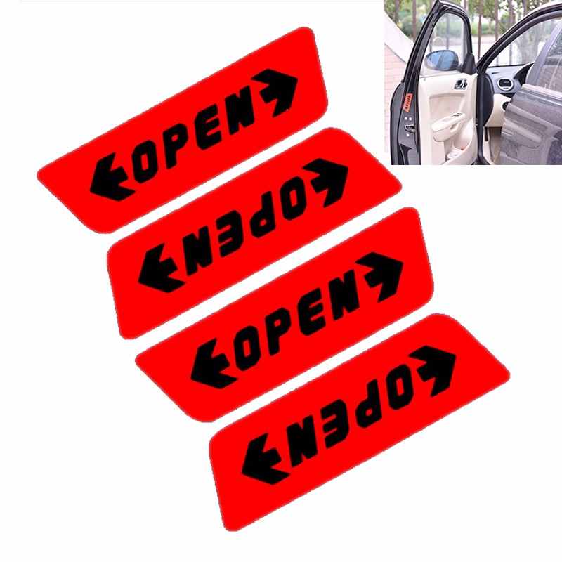 wpOP59NE Car Stickers,4pcs Open Car Vehicle Door Reflective Safety Mark Warning Decals Waterproof Self-Adhesive Vinyl Sticker Decor