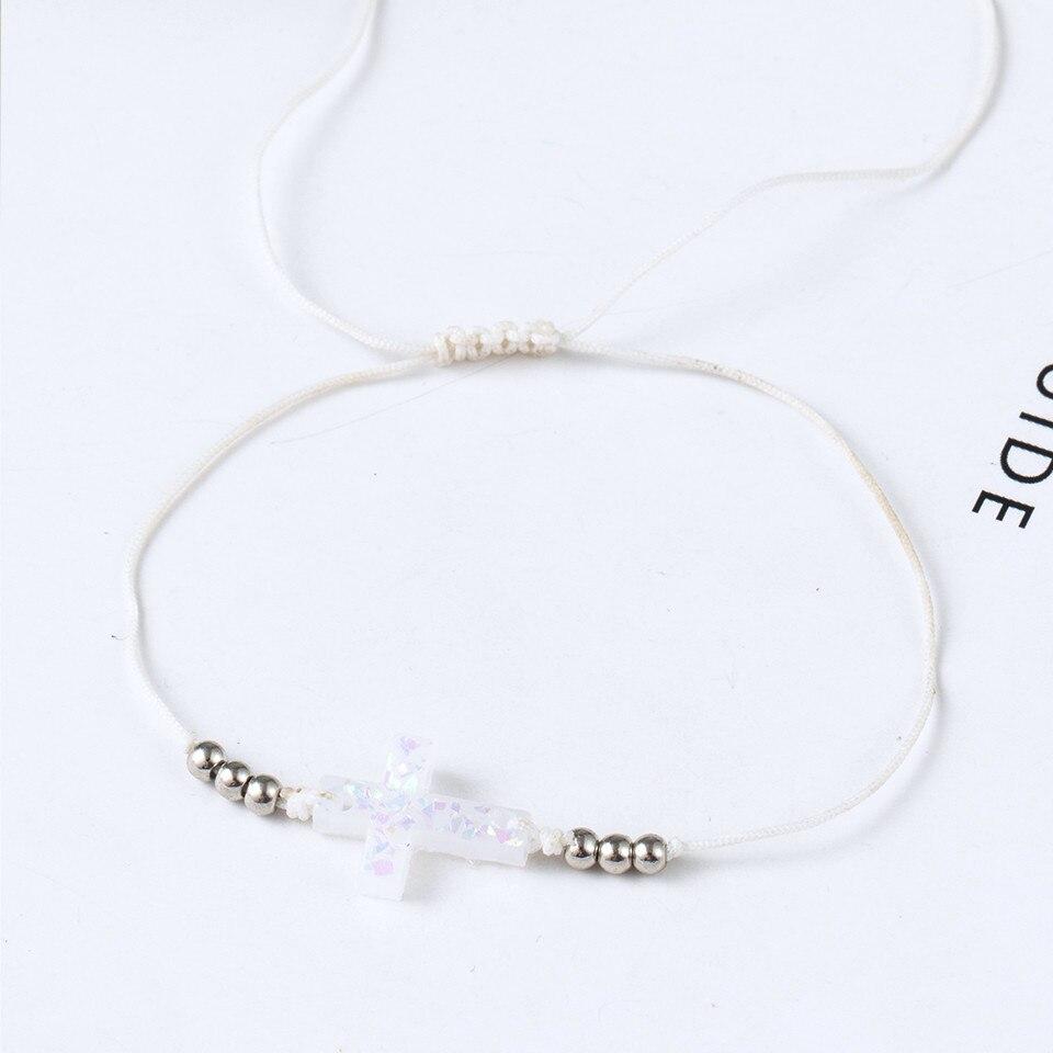 Boho Ankle Bracelet Bohemian Colorful Heart Beads Jesus Cross Turtle Butterfly Infinity Triangle Anklet Women's Leg Bracelet (30)