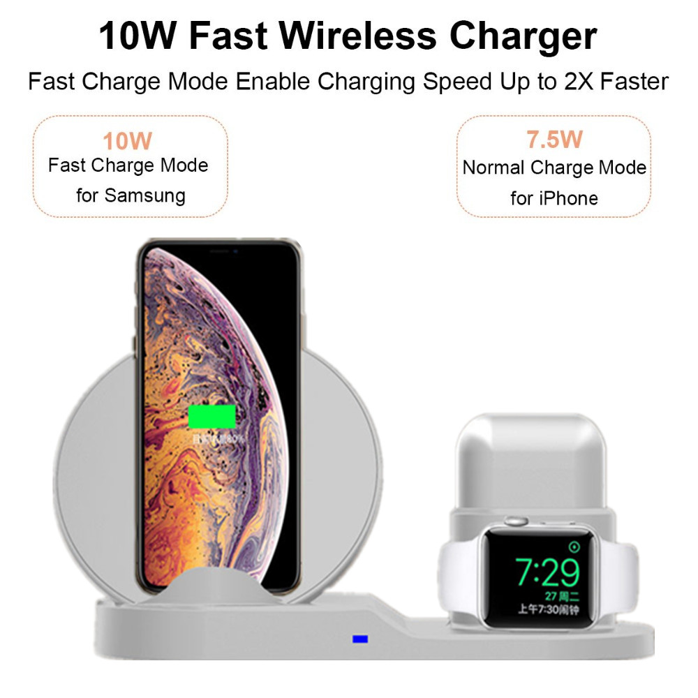 4 2 3 in 1 10W Fast Wireless Charger Dock Station Fast Charging For iPhone XR XS Max 8 for Apple Watch 2 3 4 For AirPods (4)