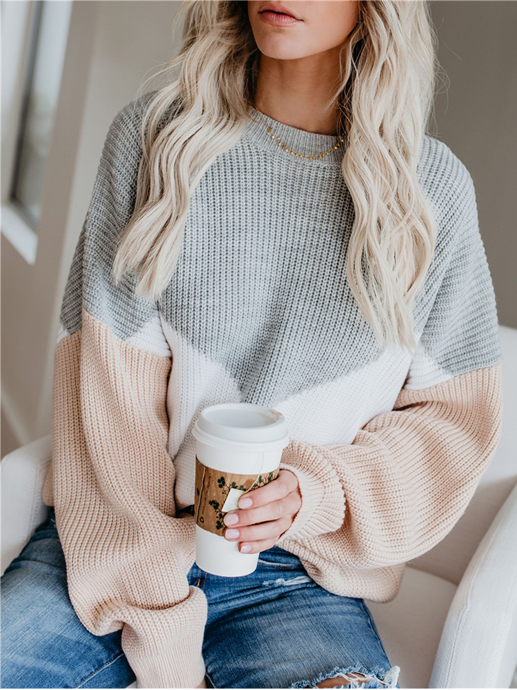 Pullovers Sweaters Color-Block Women Jumpers Long-Sleeve Loose Winter Casual Woman