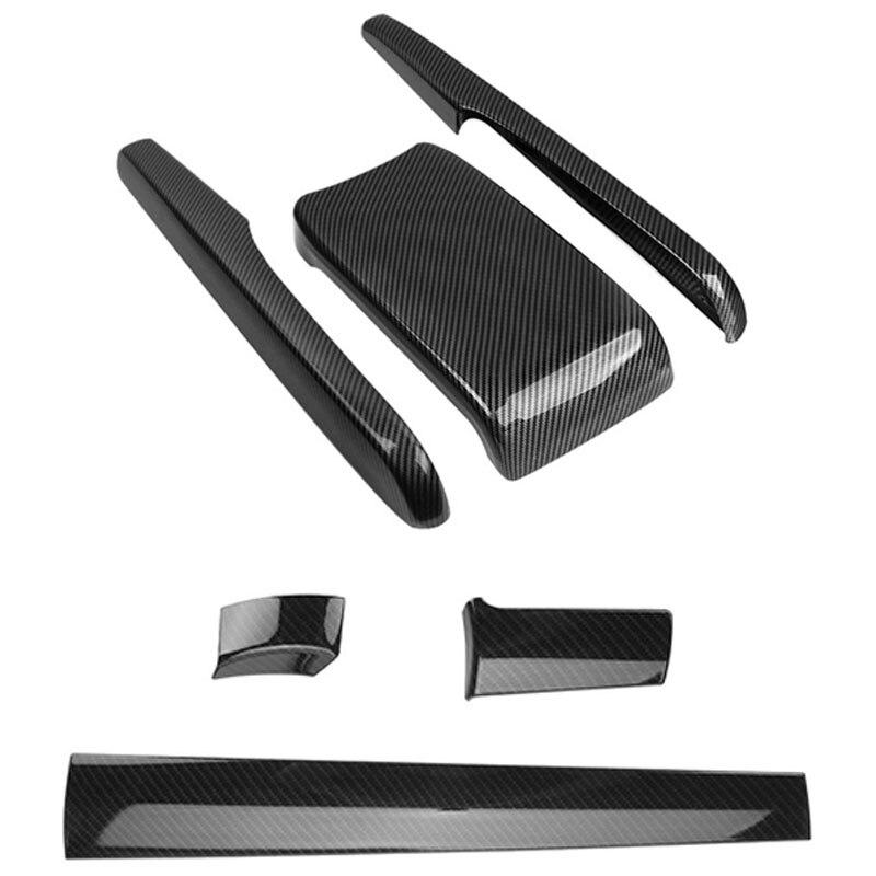 3Pcs For Honda Civic 2016-2017 Carbon Fiber Pattern Front Center Control Dashboard Stripe Cover & 1Set Armrest Box Cover