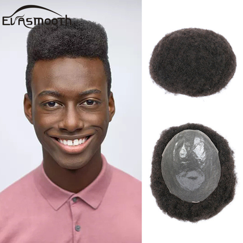 Africa Afro <font><b>Wigs</b></font> Full Pu Men Toupee <font><b>8</b></font>*10 inches Afro Kinky Curly <font><b>Wig</b></font> Human Hair Men <font><b>Wig</b></font> Replacement System Handmade Hairpieces image