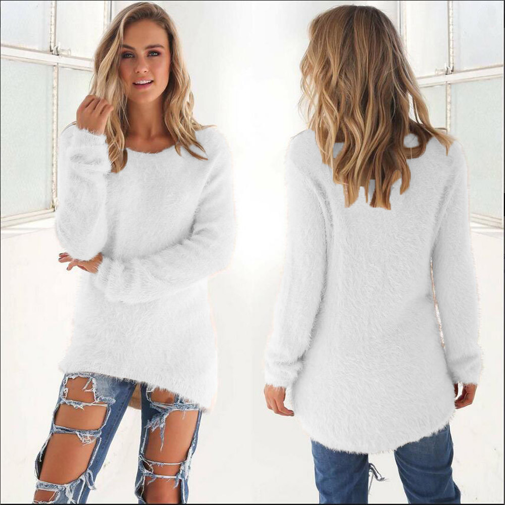 Soft Thick Sweaters Dress Women Fleece Knitted Pullovers Winter Long Pullover Knits Long Sleeve Jumper Casual Tops Warm Knitwear
