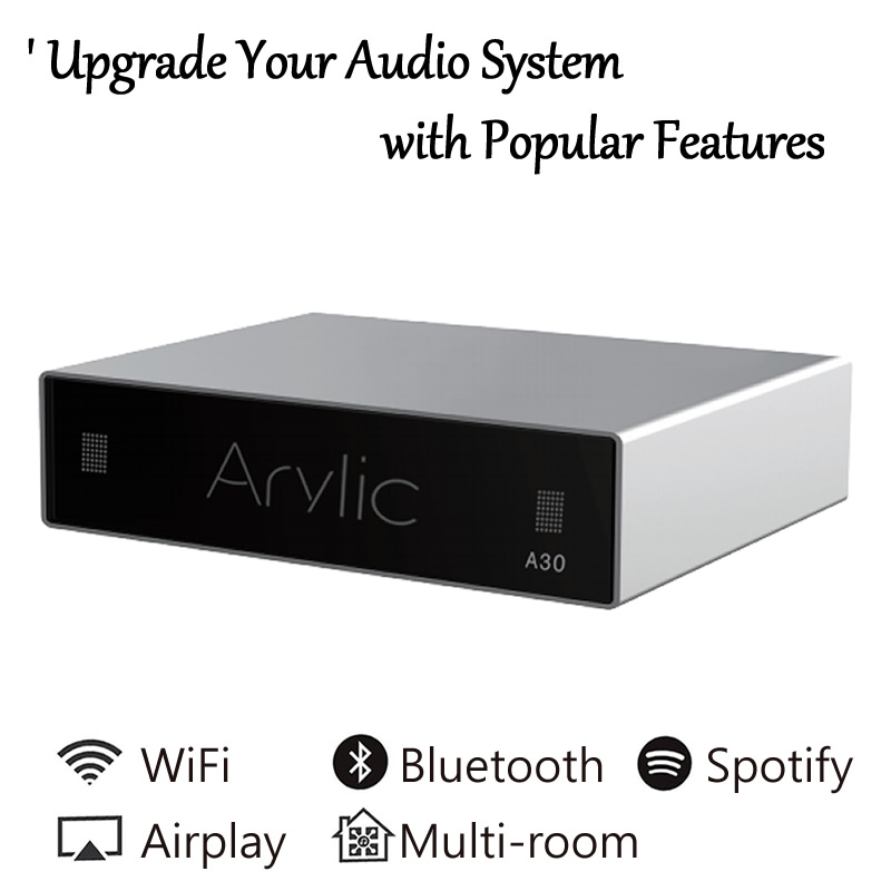A30 WiFi And Bluetooth Amplifier Wireless Audio Receiver HiFi Class D Mini Streamer Multi-room DLNA Airplay Spotify Free APP
