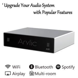 A30 WiFi i wzmacniacz Bluetooth bezprzewodowy odbiornik Audio HiFi klasa D Mini Streamer wielopokojowy DLNA Airplay Spotify darmowa aplikacja