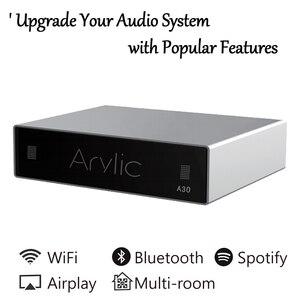 Wi-Fi и Bluetooth усилитель A30, беспроводной аудиоприемник, Hi-Fi, класс D, мини-стример, мульти-рум, DLNA, Airplay, Spotify, бесплатное приложение