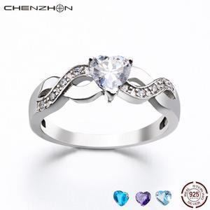 Женские кольца CHENZHON, ювелирные изделия из стерлингового серебра 925 пробы в форме сердца, обручальные кольца, подарок, размер от 4 до 11, CZ, для д...