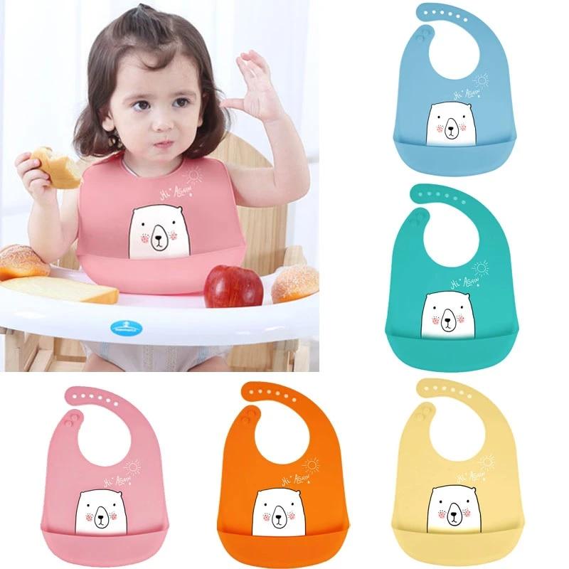 Cartoon Kids Silicone Baby Bibs Children/'s Waterproof Feeding Stuff Burp Cloth
