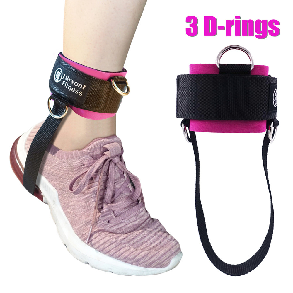 1PCS 3 D-rings Fitness Ankle Strap Gym Cable Machines Thigh Weights Exercises Enhance Glutes Neoprene Padded Metal Ankle Cuffs