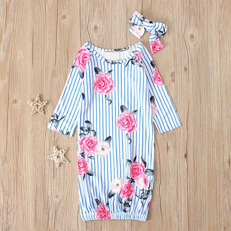 Baby Girls Boys Clothes Floral Print Round Neck Long Sleeve Blanket Sleeping Bag Newborn Swaddle Wrap