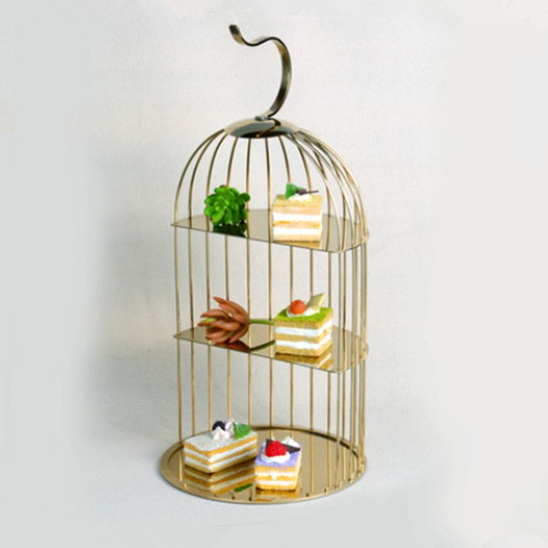 Creative stainless steel bird cage snack rack buffet tableware pastry rack set table reception wedding cold dining rack