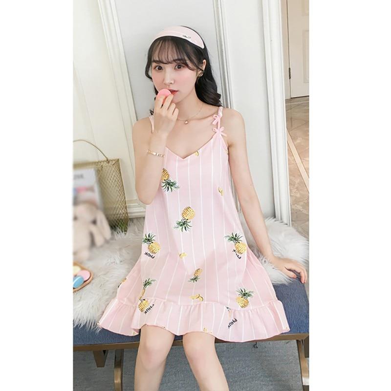 Cartoon Summer Print Nightdress Milk Silk Padded Sleepwear Girl Nightdress With Pad