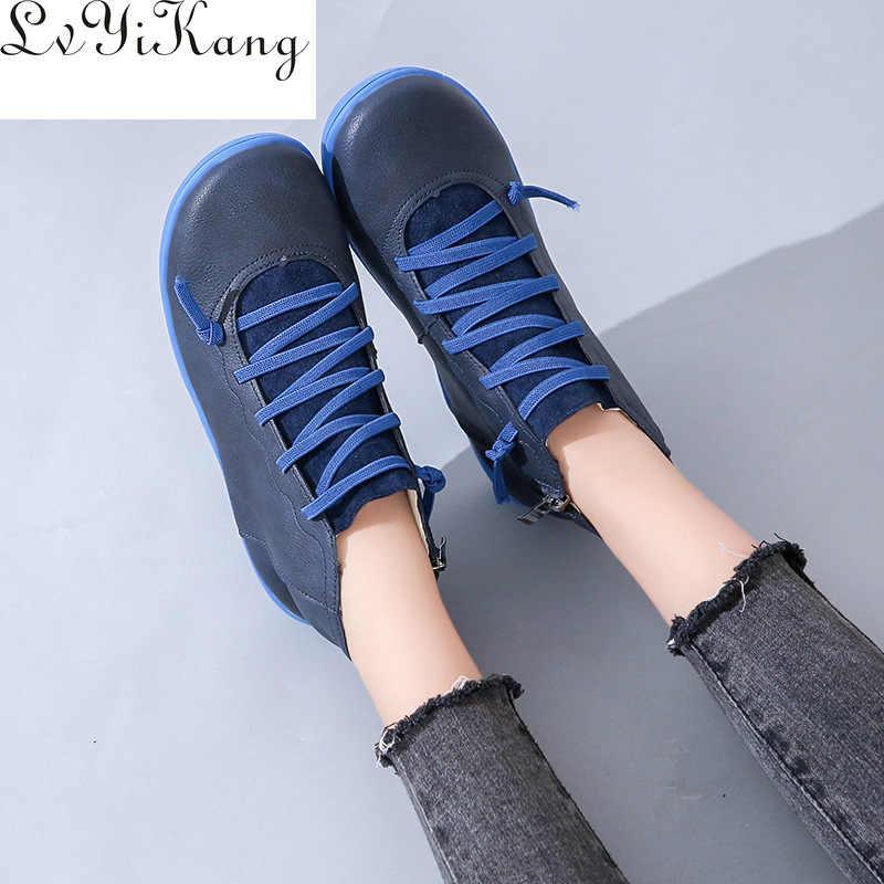 Botas das mulheres tornozelo socofy couro laço acima botas das mulheres tamanho grande cruz cinta apartamentos inverno 2019 botas outono sapatos femininos curto