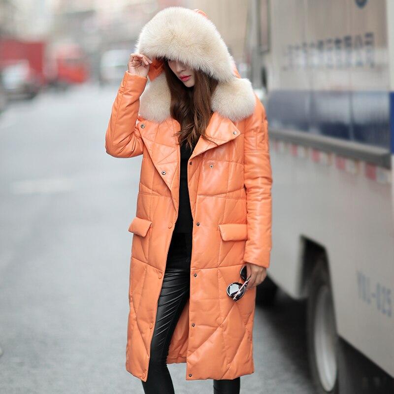 Fox Fur Collar Autumn Winter Coat Women Clothes 2019 Real Genuine Leather Jacket Korean Sheepskin Down Coat Plus Size ZT4904