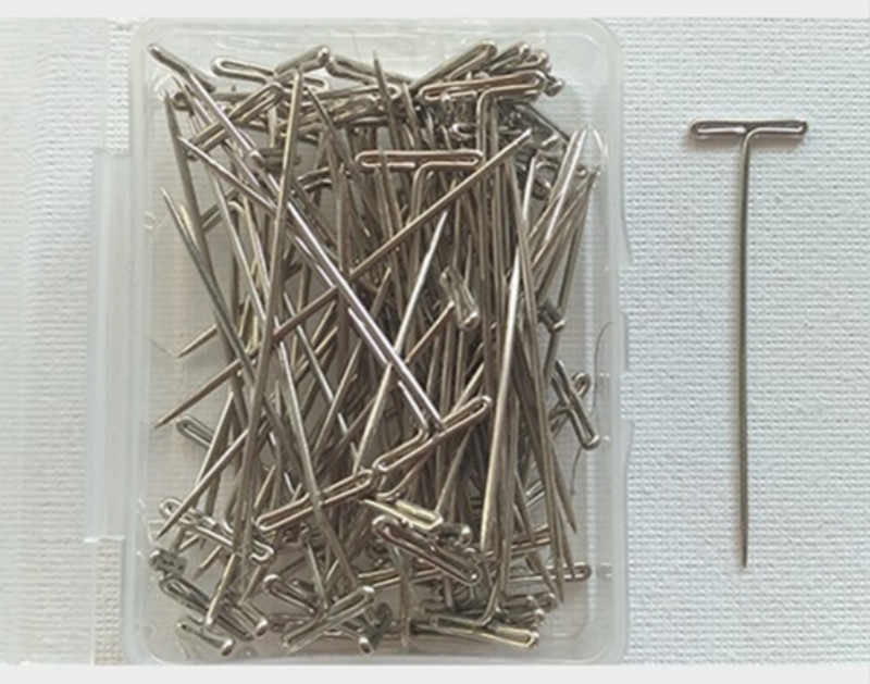 50 Pieces/Box Wig T Pins for Holding Wigs Silver 32mm Long T-pins Styling Tools For Wig Display