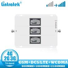 Lintratek ثلاثي الموجات الخلوية مكرر GSM 900 UMTS 2100 1800 الهاتف المحمول إشارة الداعم 70dB مكاسب 2G 3G 4G الإنترنت مكبر للصوت