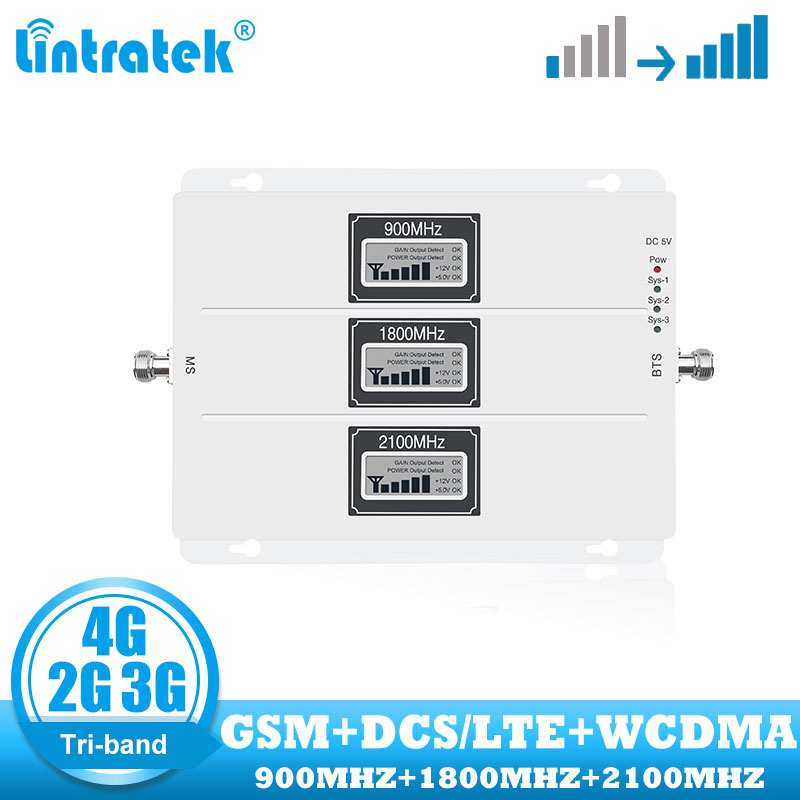 Lintratek Tri Band Cellular Repeater GSM 900 UMTS 2100 1800 Mobile Phone Signal Booster 70dB Gain 2G 3G 4G Internet Amplifier
