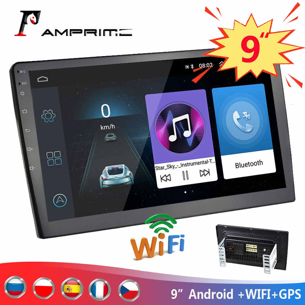 "Amprime 9 ""Android Autoradio 2 Din Multimedia Player Gps Navigatie Auto Stereo Wifi Bluetooth Video Player Met Achteruitkijkspiegel camera"