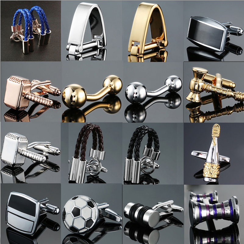 Factory Direct Sales Wholesale French Shirt Cuff Cufflink Button Gold Silvery Men Fashion Brand Double Leather Cufflinks