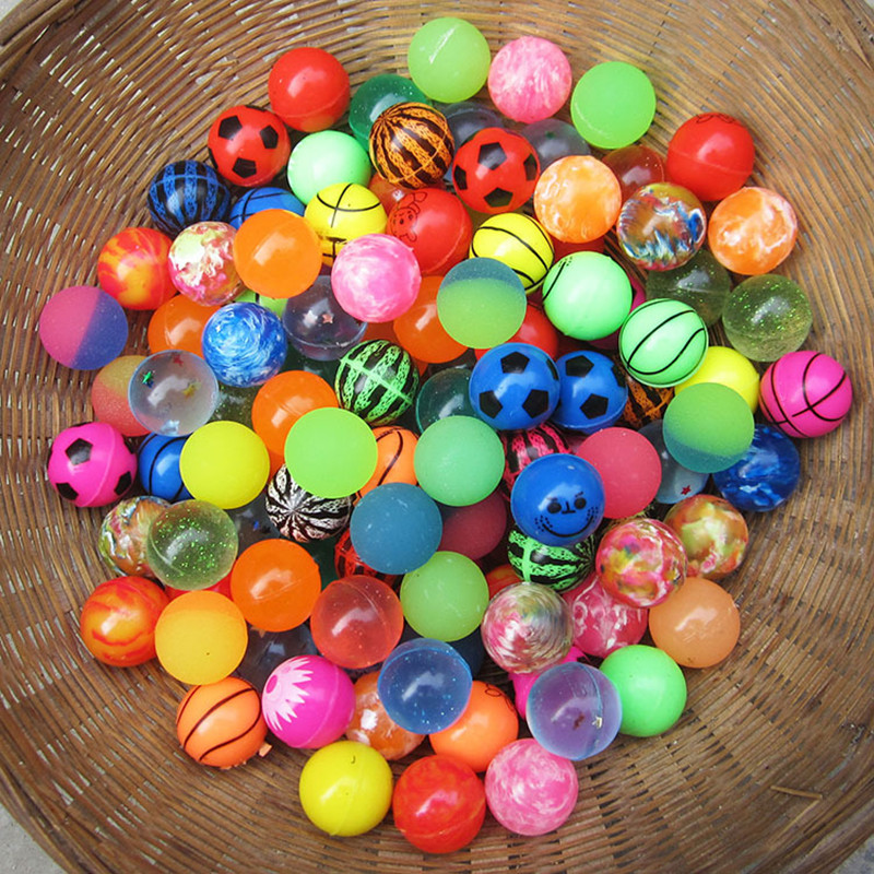 [Bainily]10pcs/lot Funny toy balls mixed Bouncy Ball Solid floating bouncing child elastic rubber ball of pinball bouncy toys(China)