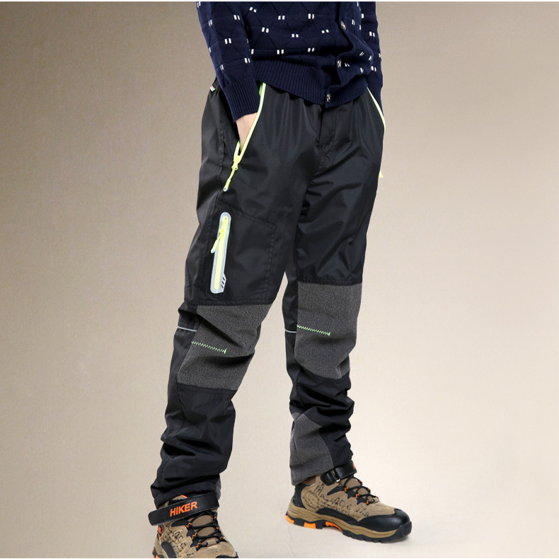 Winter CHILDREN'S Technical Pants BOY'S Cotton Trousers Outdoor Plus Velvet Waterproof Teenager Thick-Pants Big Boy Trousers