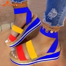 Karinluna 2020 Big Size 43 Platform straw wedges comfortable heels Summer Sandals