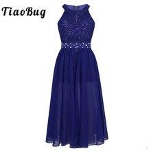 Tiaobug Girls 민소매 꽃 레이스 라인 석 Maxi Dress for Pageant 학교 댄스 생일 파티 Kids First Communion Dress