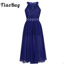 Tiaobug Girls Sleeveless Floral Lace Rhinestone Maxi Dress for Pageant School Dance Birthday Party Kids First Communion Dress