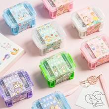 Minkys kawaii bonito washi fita de mascaramento conjunto com caixa de armazenamento e adesivo, papelaria de escola de fita adesiva decorativa do diário