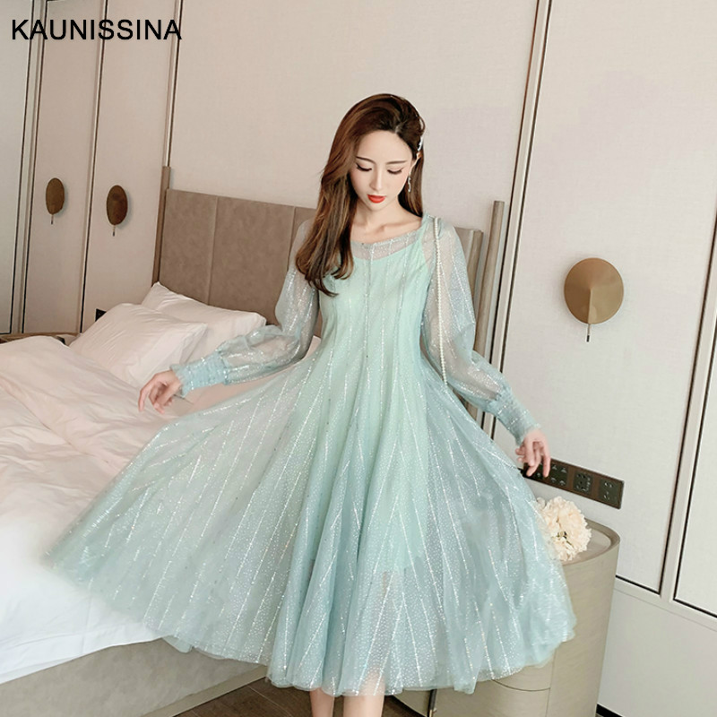 KAUNISSINA Sequins Long Cocktail Dresses Sweet Tulle Two Piece Dress Women Fashion Long Sleeve Maxi Korea Homecoming Dresses
