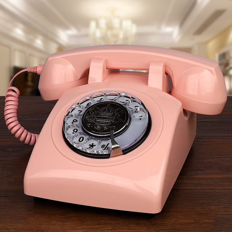 Pink Telephones,Corded Telephone Classic Rotary Dial Home Office Phones Antique Vintage Telephone of 1930s Old Fashion Telephone